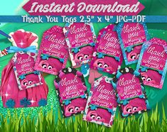 Trolls thank you tags, Trolls birthday party, instant download, thank you cards, Troll gift tags, Troll favor tags, printable troll