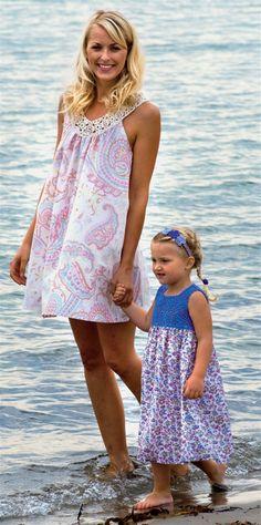 Skønne matchende strandkjoler til søde piger i alle aldre.