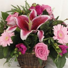 Basket of fresh cut pink lillies, roses, gerbera & freesia! Diwali Flowers, Send Flowers Online, Lilies Of The Field, King James Bible Verses, Bible News, Local Florist, Favorite Bible Verses, Lord And Savior, Joy And Happiness