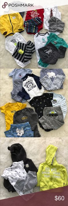 Huge Carters Fall Winter Boys Lot Most of the clothing is Carters. There are 2 outfits that are Cat & Jack. The plaid jacket is Old Navy size 6-12 months, the plaid hoodie is Gerber size 6-9 months(it runs big), the yellow hoodie is F&F size 6-9 months(also runs big). Both pairs of shoes are 6-12 months, one is Surprize by Stride Rite, the second is DC. All in great condition, no stains, holes, or tears. 11 outfits in total, smoke free home. Carter's Matching Sets