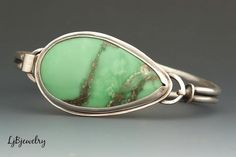 New Work, Sterling silver handmade bracelet with a Variscite cabochon by LjBjewelry, via laurajanebouton.tumblr