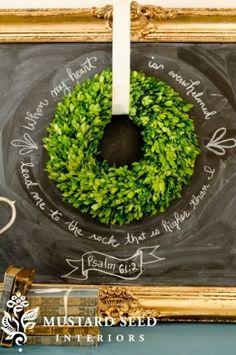 Wreath chalkboard decor