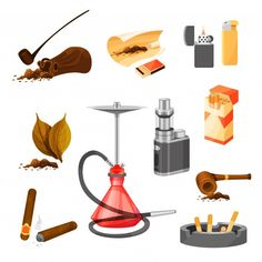 Set of items related to smoking theme. t... | Premium Vector #Freepik #vector #vintage #wood #leaf #paper Glass Pipes, Water Pipes, Bong Shop, Pipes And Cigars, Glass Bongs, Hand Pipes, Smoke Shops, Smoking Accessories, Cigar Smoking
