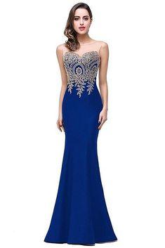 65ad77b5cd9 Women s Dress Sheer Gold Applique Royal Blue Lilac Mermaid Bridesmaid Dresses  Long Wedding Party Dress Royal