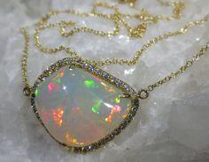 Natural Opal & Diamond Pendant 18K Yellow Gold  by BimBamNation, $2330.00