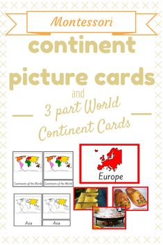 World Continent Cards and 3 Part Continents Montessori Cards Contain: 3-part Cards of the 7 Continents; Continent Picture Cards of the 7 Continents