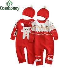 Baby Rompers Christmas Snowman Newborn Baby Clothes Knitted Infant Jumpsuit Winter Bebe Boy Girls Winter Sweater Romper with Hat(China (Mainland))