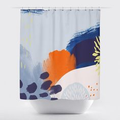 Brushstrokes And Dashes Shower Curtain By Gillham Studios