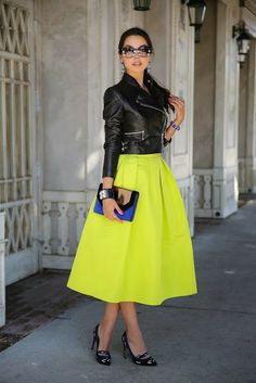 How to Chic: NEON MIDI SKIRT AND LEATHER JACKET