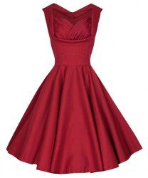 Retro Women's Sweetheart Neck Solid Color Sleeveless Midi Dress (WINE RED,2XL) | Sammydress.com Mobile