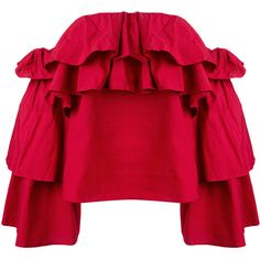 Erika Cavallini Flavie off-shoulders blouse (18.240 RUB) ❤ liked on Polyvore featuring tops, blouses, red, red top, red blouse, off shoulder tops, off shoulder blouse and off the shoulder tops