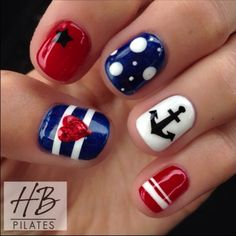 of July Nails! The Very Best Red, White and Blue Nails to Inspire You This Holiday! Fourth of July Nails and Patriotic Nails for your Fingers and Toes! Get Nails, Fancy Nails, Love Nails, Pretty Nails, Hair And Nails, Nautical Nail Art, Nautical Nail Designs, Patriotic Nails, 4th Of July Nails