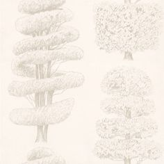Linnaeus Oyster (P557/01) - Designers Guild Wallpapers - Delicately drawn topiary trees with metallic highlights printed on smooth non-woven grounds. Showing in Oyster - other colour ways available. Please request a sample for true colour match. Paste-the-wall product.
