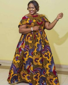 Maxi gown, African madam dress, bold and chubby ankara print dress cap neck,African fashion, women d Latest African Fashion Dresses, African Dresses For Women, African Print Dresses, African Print Fashion, Africa Fashion, African Attire, Women's Fashion Dresses, Ankara Fashion, African Traditional Dresses
