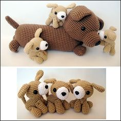 Mommy Dog and Her Puppies Crochet Pattern