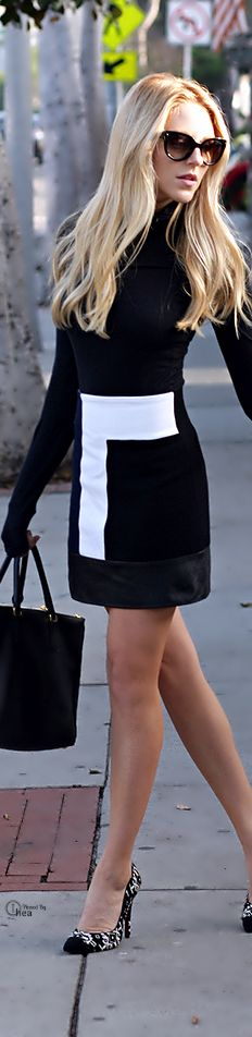 Black & White Color Block Dress....gamma gamma gamma...Don't know if I'd actually wear. Blondes can pull off some stuff a brunette can't.