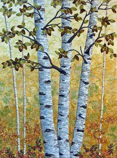 Cathy Geier's Quilty Art Blog: Golden Birches and Faced Bindings
