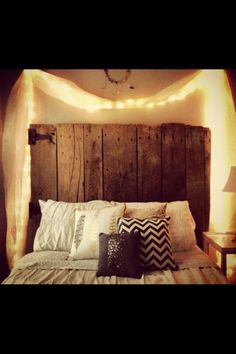 Wood headboard! White boards against grey walls? i love everything about this honestly