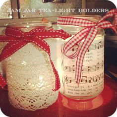 jam jar - would be easy with Christmas wrapping paper and flameless candles