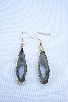 Dark Gray Faux Agate Earrings