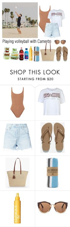 """""""Playing volleyball with Cameron Dallas"""" by ap0dita ❤ liked on Polyvore featuring Eres, Tommy Hilfiger, Levi's, Havaianas, Talbots, Las Bayadas, Clinique, Marni, outfit and clothes"""