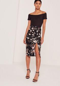 Missguided - Floral Scuba Split Front Midi Skirt Black