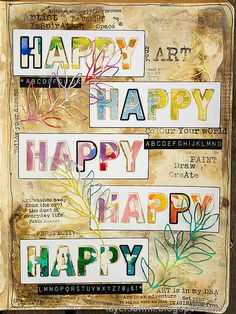 Layers of ink - Happy Art Journal Page Video Tutorial by Anna-Karin Evaldsson. Made with stamps and dies by Simon Says Stamp. Journal Covers, Art Journal Pages, Art Journaling, Mixed Media Techniques, Happy Words, Elephant Art, Distressed Painting, Happy Art, Flower Backgrounds