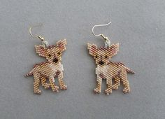 Chihuahua Earrings in delica seed beads by DsBeadedCrochetedEtc