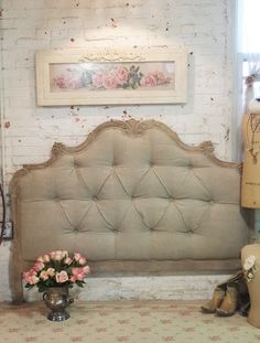 Painted Cottage Chic Shabby Tufted Upholstered Romantic French Queen Headboard…