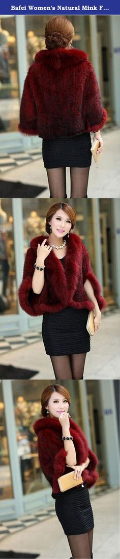 3489a7dfcc8f0 Bafei Women s Natural Mink Fur Knitted Cappa Cloak Cape with Fox Fur Collar  (Red)