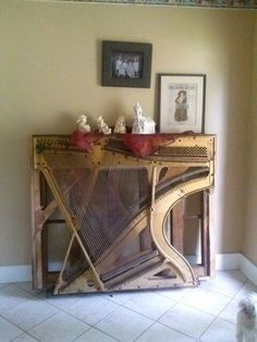 Reclaimed Piano Harp Glass Table Upcycle It Pinterest
