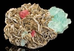 Reddish-pink Apatite and Aquamarine on Muscovite | #Geology #GeologyPage #Mineral  Locality: Chumar Bakhoor Pakistan  Photo Copyright  EXCEPTIONAL MINERALS  Geology Page www.geologypage.com