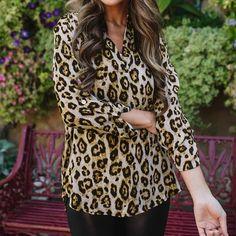 Long Sleeve V-neck Chiffon Leopard Print Pullover Tops Blouses For Women, Chiffon, V Neck, Pullover, Long Sleeve, Sleeves, Collection, Tops, Style