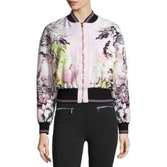 Roberto Cavalli Floral-Print Zip-Front Bomber Jacket ($2,100) ❤ liked on Polyvore featuring outerwear, jackets, white kimono jacket, flight jacket, floral bomber jacket, pink kimono and white jacket