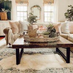 Boho Living Room, Home And Living, Modern Living, Small Living, Cottage Style Living Room, Farmhouse Living Rooms, Living Room Pottery Barn, Cozy Living Room Warm, Modern Cottage Decor