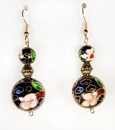 1310 - Cloisonne earrings, cloisonne jewelry, black cloisonne, large cloisonne bead, small cloisonne bead, dangle earrings, dangle jewelry by EarringsBraceletsEtc on Etsy