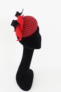 Endearing black and red houdstooth minihat by MarcusArtandFashion, $139.00