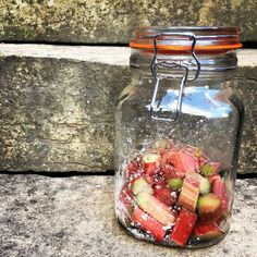 Rhubarb and Ginger Infused Gin. Tart rhubarb and zesty ginger collide with dry gin to create a refreshing and exotic infusion. Rhubarb Ginger Gin Recipe, Rhubarb Recipes, Rhubarb Ideas, Homemade Alcohol, Homemade Liquor, Triple Sec, Mojito, Fruit Gin, Raspberry Gin