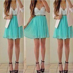 Ruffles Bodice Chiffon Mint Dress
