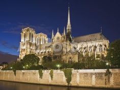 Notre Dame Cathedral at twilight by Cat Tesla Landscapes Photographic Print - 61 x 46 cm
