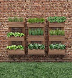Horta vertical orgânica feita com material de demolição.