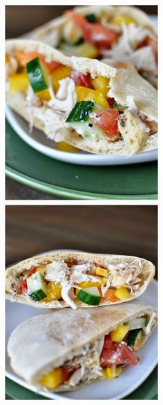 Greek Chicken Pita Pockets from Mel's Kitchen Cafe; this sounds ...