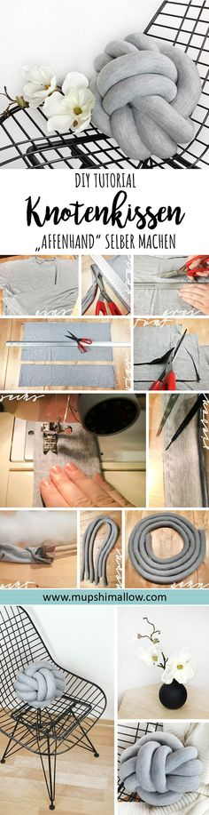 "Excellent Photos Knot pillow ""monkey hand"" DIY tutorial ⋆ mupshimallow Popular This is the sleeve crown also called the sleeve head or sleeve hat The top usually must be reduced Knot Cushion, Knot Pillow, Diy Cushion, Diy Pillows, Cushions, Sewing Lessons, Patch Quilt, Diy Tutorial, Pillow Tutorial"