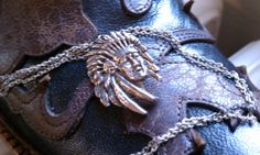Vintage Sterling Silver Indian Chief Necklace by Cateyecurios, $75.00