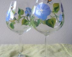 Pansy Painted Wine Glasses | handpainted wine glass with blue fl ower,morning glory, Mothers Day ...