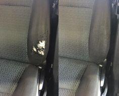 Bilsæde slidt. Før og efter Reparation.