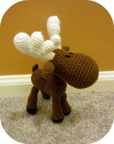 Free+Crochet+Amigurumi+Animals+Pattern   Handmade crochet moose stuffed animal, a style called amigurumi. Maybe ...