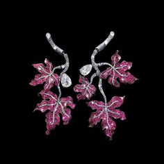 """Diana Zhang Jewelry (@dianazhangjewelry) on Instagram: The artwork """" Dancing Red Leaves"""" represents Autumn, it is a harvest time and red leaves symbolize the most traditional and richest Chinese culture. The Falling Red Leaves collection is made of diamond cut pink sapphires with the finest colour, together with two 2cts D-VS white diamonds to represent falling leaves and crystalized fruits respectively."""