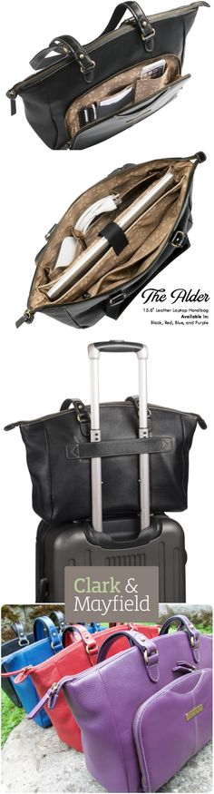 """The Alder: A 15.6"""" laptop handbag for work, play, and travel. Available in black, red, blue, purple leather with generous, functional pockets and suitcase strap."""