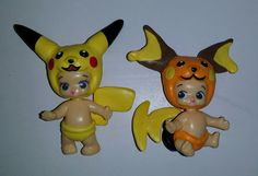 Custom hand painted with sculpted details Twozies baby Pokemon figures Pikachu and Raichu To see all the Pokemon crafts I have made or to place an order please visit my Facebook page https://m.facebook.com/sparklesandstring/